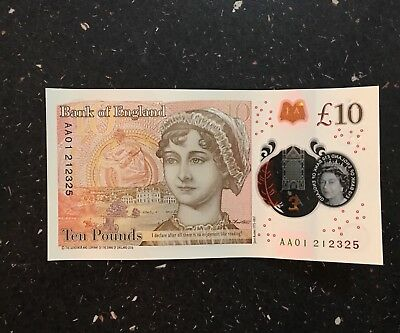 NEW £10 TEN POUND NOTE POLYMER AA01 Very Low Serial Number