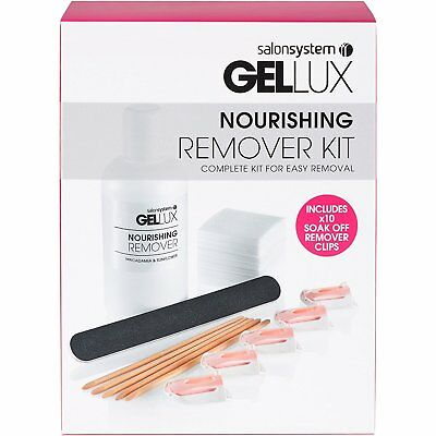 Salon System Gellux Nourishing Gel Nail Polish Remover Manicure Kit Easy Removal