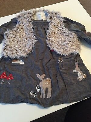 Baby Girls NEXT Woodland Dress & Gilet Set Age 9-12 Months- EXCELLENT CONDITION