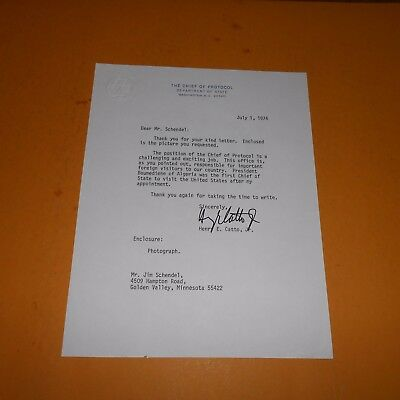 Henry E Catto Jr was an American businessman + public servant Hand Signed Letter