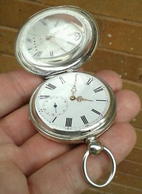 EXCELLENT CONDITION, ANTIQUE SOLID SILVER FULL HUNTER POCKET WATCH, CIRCA 1880s.