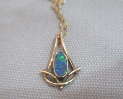 Vintage 14Ct Gold Pendant Set With Black Opal On 9Ct Gold Chain