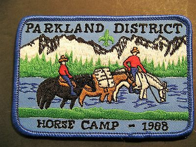 Boy Scouts Canada  Parkland District Horse Camp 1988 Embroidered Patch Cubs