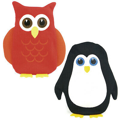 Cute Animal Knitted Hot Water Bottle With Removeable Cover 750ML Owl or Penguin