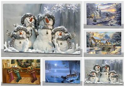 Christmas Canvas Picture Snow Scene Decoration With Flickering LED Fairy Lights