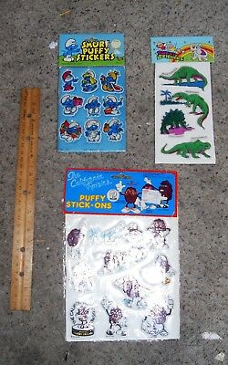 Vtg 1980 s Imperial Toys Puffy Stickers Lot Smurfs California Raisins Dinosaurs