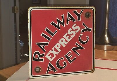"""Vintage 1970's Railway """"Express"""" Agency Reproduction? Porcelain Sign Beauty!"""