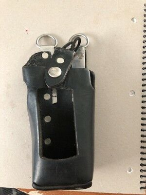 Leather radio Holder/Holster for Motorola or other 2 Way Radio- Strap