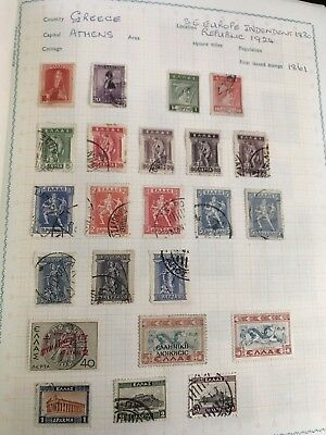 Greece Stamp Collection On Pages