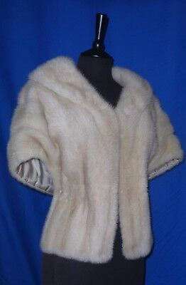 "Magnificent Real Fur Natural ""Tourmaline"" Creamy Blonde Mink Cape Stole Bolero."