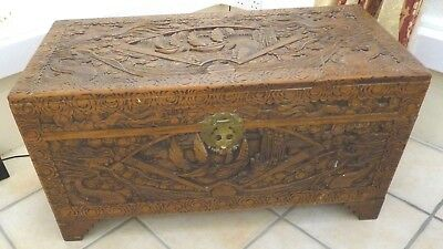 Vintage Chinese  engraved carved wooden chest camphor wood interior.
