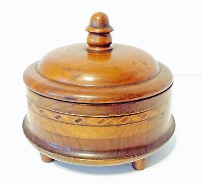 Antique / Vintage Large Round Box Walnut Treen Inlaid Bands, Finial, Footed