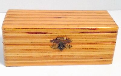 VINTAGE MULTI LAYERED / LAMINATED VENEERED BOX 1930's HINGED, FANCY CATCH, LINED