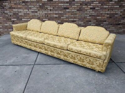 9ft hollywood regency gold brocade HUGE sofa MINT CONDITION mid century modern