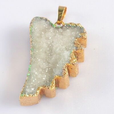 Wing Natural Agate Druzy Geode Pendant Bead Gold Plated T046944