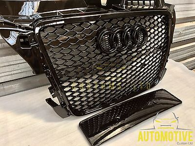 Audi A3 S3 RS3 De Badged Grill Gloss Black Audi RS3 Grille 2008 - 2012 UK Stock