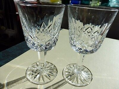 """2 Waterford crystal glass Lismore cocktail liquor glasses 4 1/4"""" tall"""