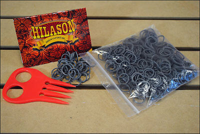 Hilason Horse Tack Rubber Braid Bands Gray With Red Comb