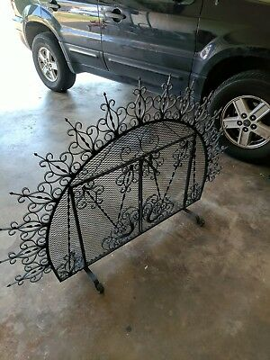 Cast Iron Fireplace Screen with Gate