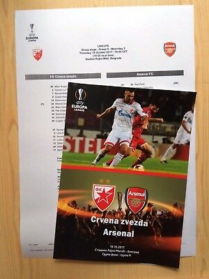 RED STAR Belgrade Serbia ARSENAL London England 2017 EL FAN + OFFICIAL Linesup