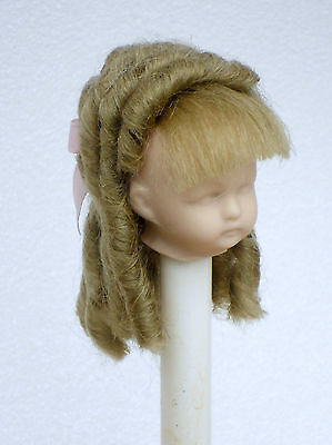 "Antique Doll English Mohair Wig, Bjd Doll Wig Ash Blonde Ringlet 3"" Head"
