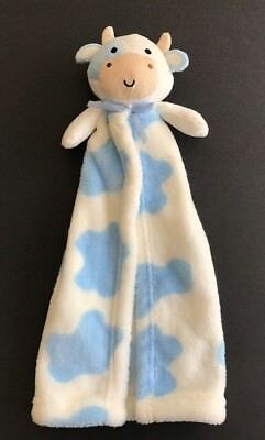 Cutie Pie COW Blue Lovey Plush Security Blanket - My First Blanket Buddy - EUC