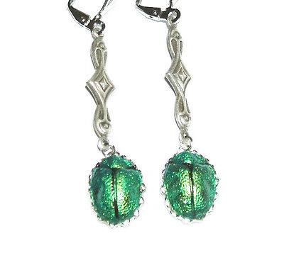 Earrings EGYPTIAN REVIVAL SCARAB Metallic Green Beetle Victorian Silver Plt Drop