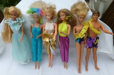 6 vintage Barbie Dolls