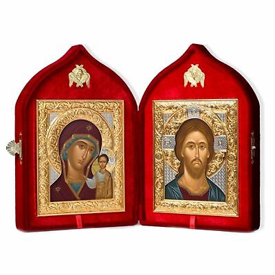 Wedding Russian Icon Diptych Velvet Case Virgin of Kazan and Christ The Teacher