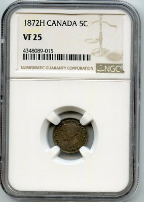 1872H Canada Silver 5 Cent coin (VF 25) NGC