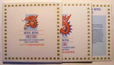 1988 Hong Kong Brilliant Uncirculated Coin Collection 7 Coins In Original Holder
