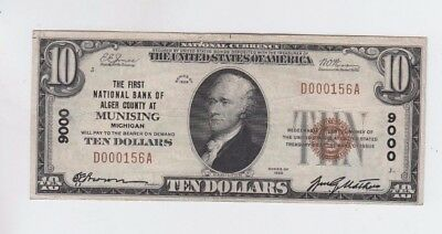 National Currency $10 1929-I Munising Michigan vf