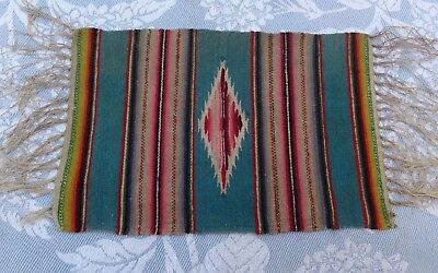 Vintage Mexican Wool Saltillo Fringe-Good Colors-Turquoise-Small Size