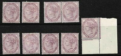 Attractive 1d Lilac group - very fine used to unmounted mint