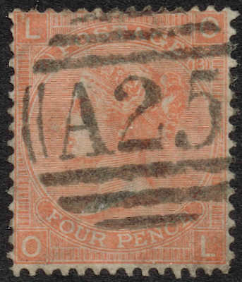 A25 used in Malta - 4d vermillion plate 13, very fine used. Lovely cancellation