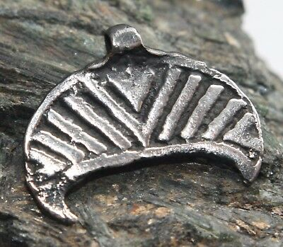 Ancient Solid Silver Neck Pendant Moon-Shaped  ''Lunula'' (OCR)