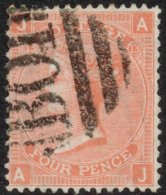 BO1 used in Alexandria - 4d vermillion plate 13, very fine used. great cancel