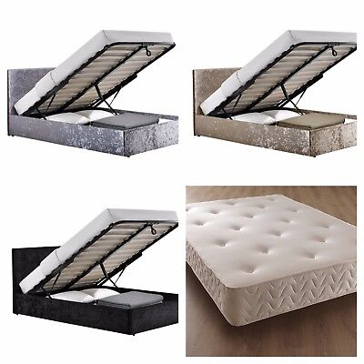 Crushed Velvet Storage Ottoman Gas Lift Beds Bed Frame With Memory Foam Mattress