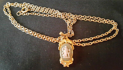 Vintage Wedgwood Jasperware Cameo Necklace Pendant and Chain.
