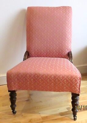 DELIGHTFUL VICTORIAN NURSING CHAIR .MAHOGANY. RECENTLY REUPHOLSTERED.Xmas gift .
