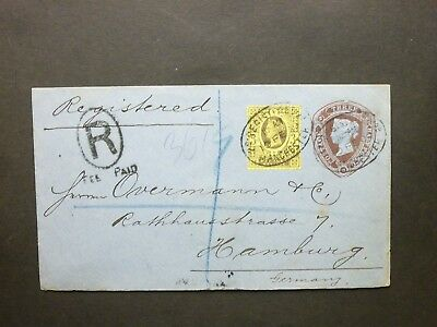"Stationery STO QV 11/2d Cover + 3d ""2d REGISTERED MANCHESTER"" ovals to Germany"
