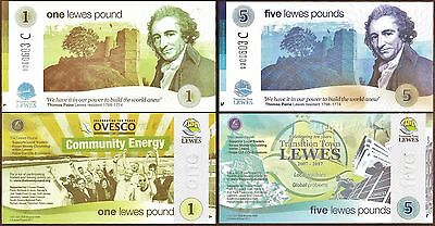 England / Lewes - New set of 2017 Comemoratives. £1 + £5  Greener Energy Series