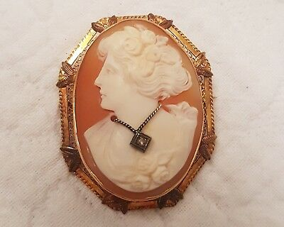 Vintage Antique 14 K Gold Peach Pink Cameo Brooch Pin Pendant with Necklace