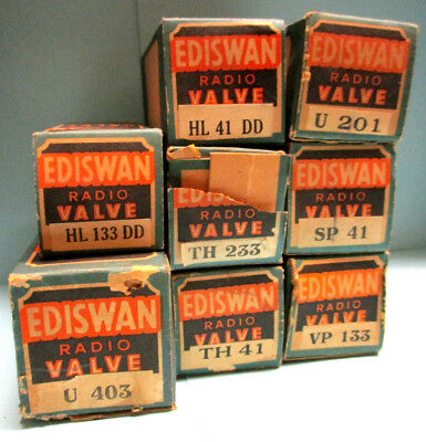Ediswan Hl41Dd U201 Th41 Vp133 Hl133Dd Th233 U403 Sp41 8X Radio Valves Boxed Lot