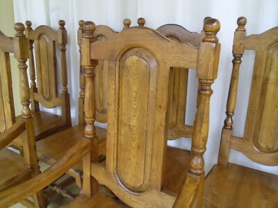 8 Solid Oak Dining Chairs / Antique Style / Country Farmhouse