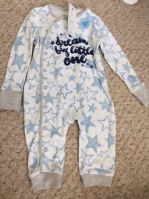 6-9 Month Footless Romper Sleepsuit Babygrow Boys Stars Blue F&F