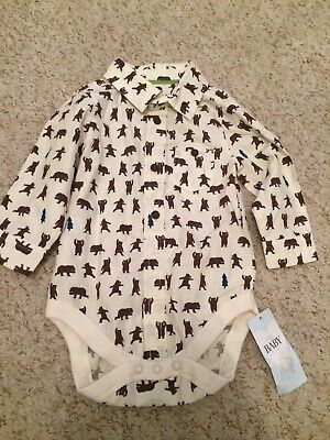 6-9 Months Bear Shirt Vest Poppers M&S