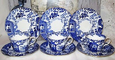 Royal Crown Derby - Blue Mikado - Teacup Trios (9pcs)