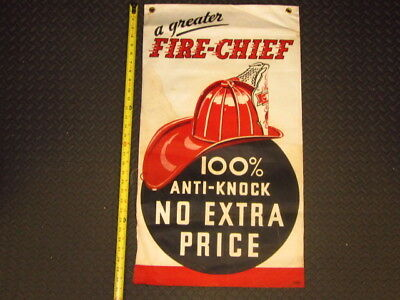 A GREATER 1950 FIRE CHIEF TEXACO BANNER 100% ANTI-KNOCK Gas Station BANNER FLAG