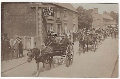 Real Photo Postcard Of Parade Passing The White Bull, Coningsby  , Lincolnshire